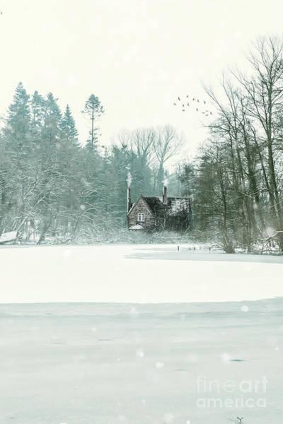 Wall Art - Photograph - Cottage On Frozen Lake by Amanda Elwell