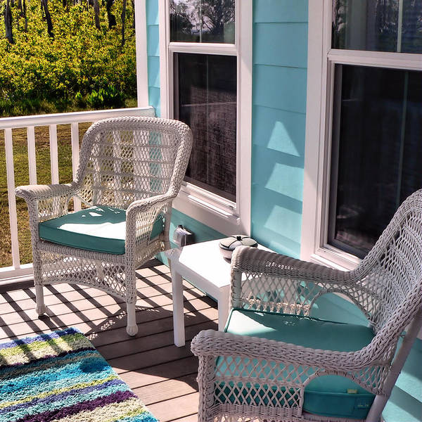 Photograph - Cottage Porch With Wicker Chairs Square by Kathy K McClellan