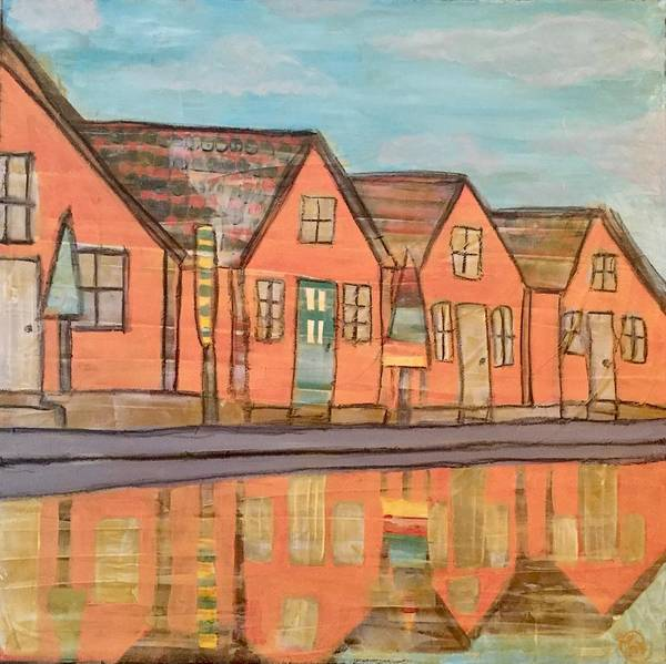 Painting - Cottages By The Beach by Monica Martin