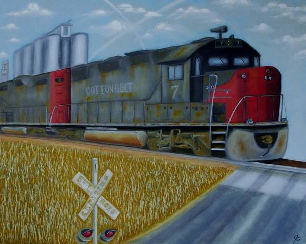 Freight Trains Painting - Cotton Belt by Jimmy Carender