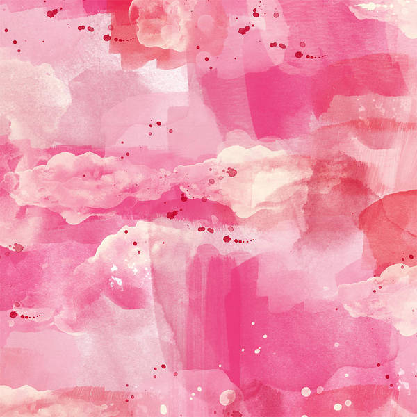 Cotton Painting - Cotton Candy Clouds- Abstract Watercolor by Linda Woods