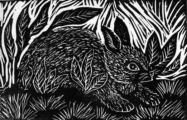 Linoleum Mixed Media - Cottontail Block Print by Ellen Miffitt
