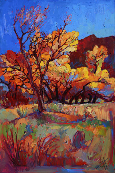 Zion Painting - Cottonwood Flame by Erin Hanson