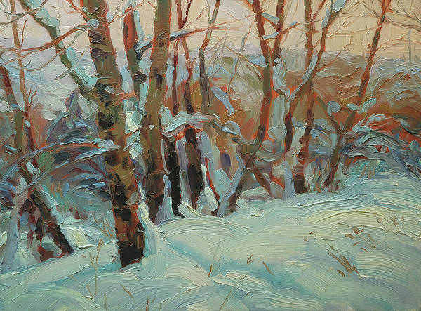 Cold Weather Wall Art - Painting - Cottonwood Grove by Steve Henderson