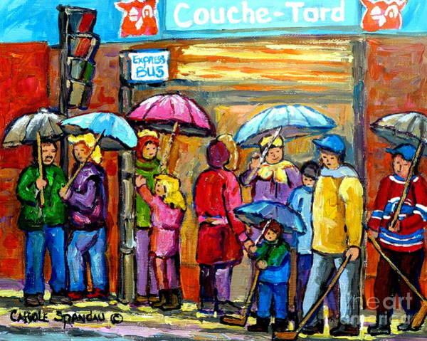Painting - Couche Tard Verdun Depanneur Rainy Day Cityscene Montreal Quebec Streetscene Painting C Spandau Art  by Carole Spandau