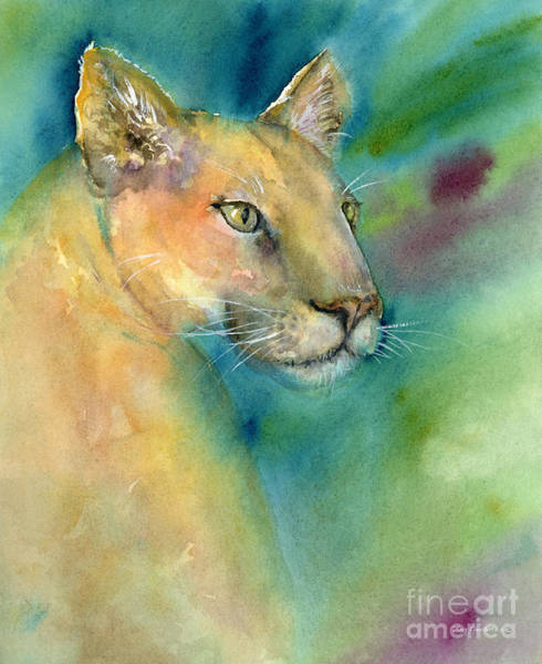 Tan Cat Wall Art - Painting - Cougar by Amy Kirkpatrick
