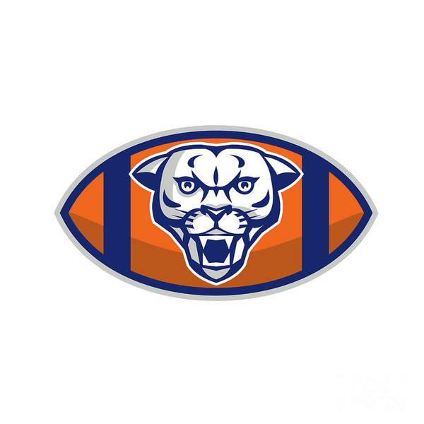 Mountain Lion Digital Art - Cougar Mountain Lion Football Ball Retro by Aloysius Patrimonio