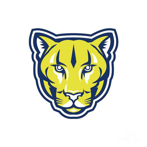 Mountain Lion Digital Art - Cougar Mountain Lion Head Retro by Aloysius Patrimonio