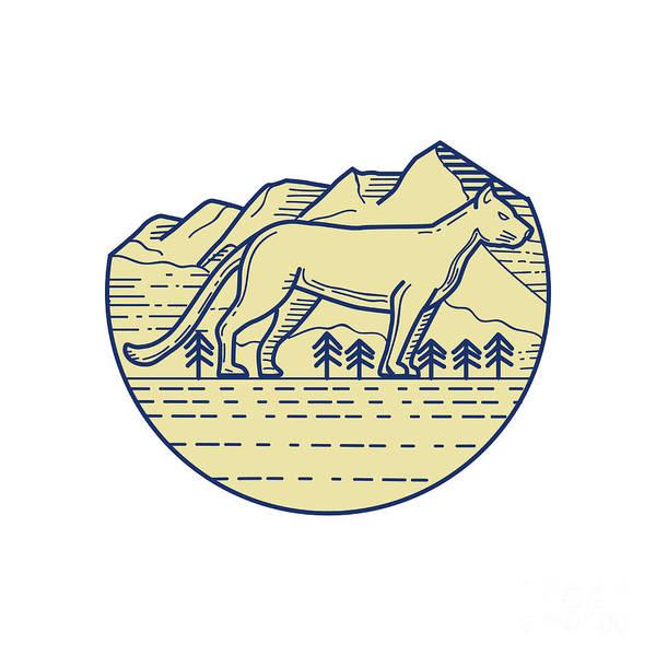 Mountain Lion Digital Art - Cougar Mountain Lion Tree Mono Line by Aloysius Patrimonio