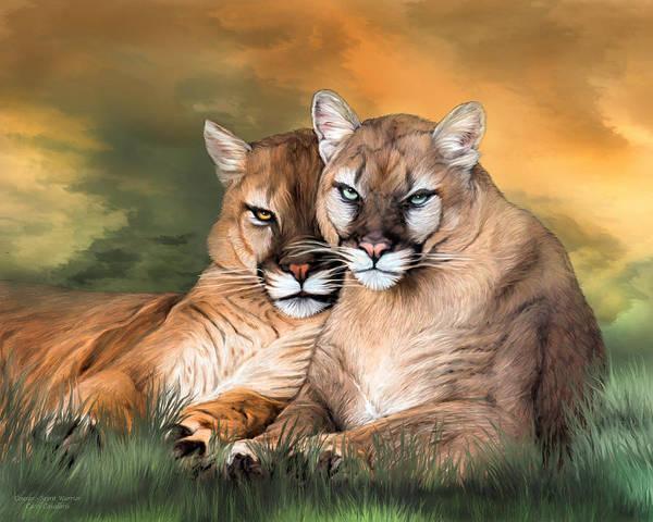 Mixed Media - Cougar - Spirit Warrior by Carol Cavalaris