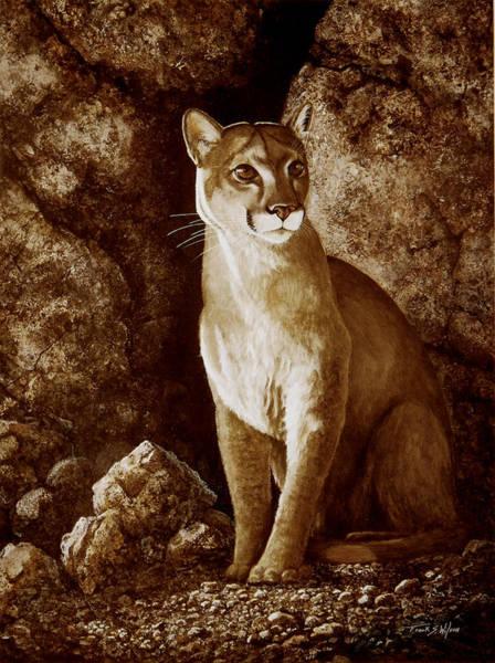 Painting - Cougar Wait Until Dark  by Frank Wilson