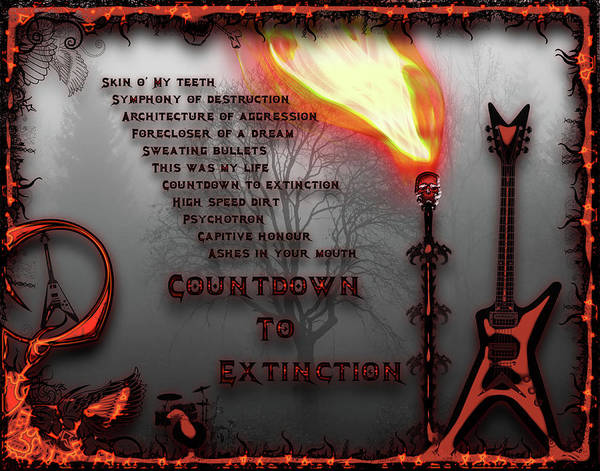 Megadeth Wall Art - Digital Art - Count Down To Extinction by Michael Damiani