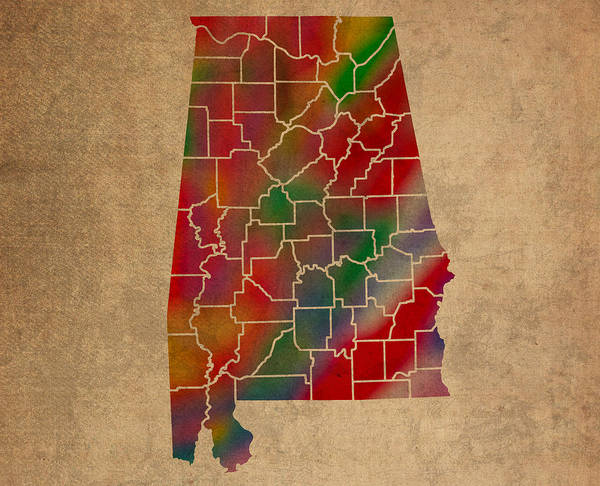 Vibrant Mixed Media - Counties Of Alabama Colorful Vibrant Watercolor State Map On Old Canvas by Design Turnpike