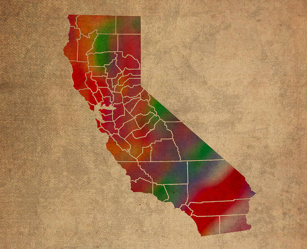 Wall Art - Mixed Media - Counties Of California Colorful Vibrant Watercolor State Map On Old Canvas by Design Turnpike