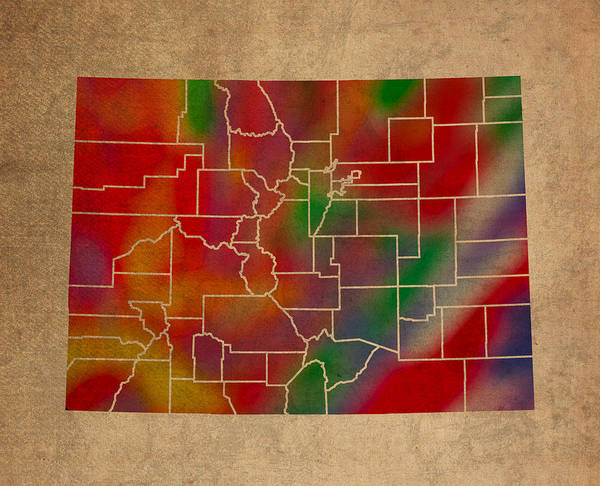 Vibrant Mixed Media - Counties Of Colorado Colorful Vibrant Watercolor State Map On Old Canvas by Design Turnpike
