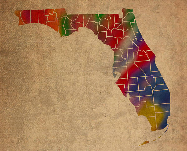 Vibrant Mixed Media - Counties Of Florida Colorful Vibrant Watercolor State Map On Old Canvas by Design Turnpike