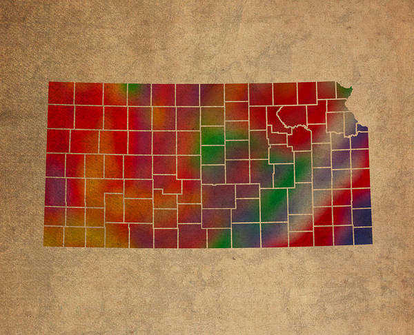 Vibrant Mixed Media - Counties Of Kansas Colorful Vibrant Watercolor State Map On Old Canvas by Design Turnpike