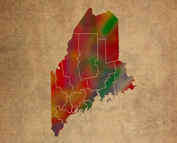 Counties Of Maine Colorful Vibrant Watercolor State Map On Old Canvas Art Print