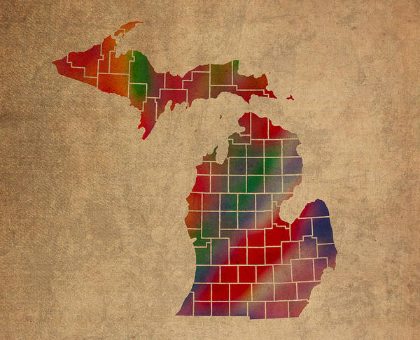 Vibrant Mixed Media - Counties Of Michigan Colorful Vibrant Watercolor State Map On Old Canvas by Design Turnpike