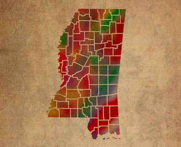 Vibrant Mixed Media - Counties Of Mississippi Colorful Vibrant Watercolor State Map On Old Canvas by Design Turnpike