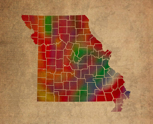 Vibrant Mixed Media - Counties Of Missouri Colorful Vibrant Watercolor State Map On Old Canvas by Design Turnpike