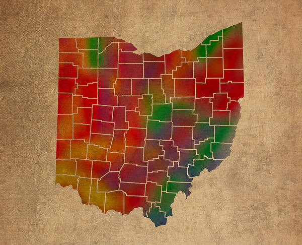 Vibrant Mixed Media - Counties Of Ohio Colorful Vibrant Watercolor State Map On Old Canvas by Design Turnpike