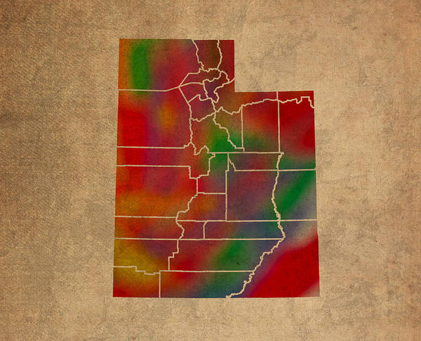 Vibrant Mixed Media - Counties Of Utah Colorful Vibrant Watercolor State Map On Old Canvas by Design Turnpike