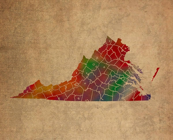 Vibrant Mixed Media - Counties Of Virginia Colorful Vibrant Watercolor State Map On Old Canvas by Design Turnpike