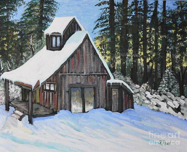 Cabin In The Woods Wall Art - Painting - Country Cabin by Reb Frost