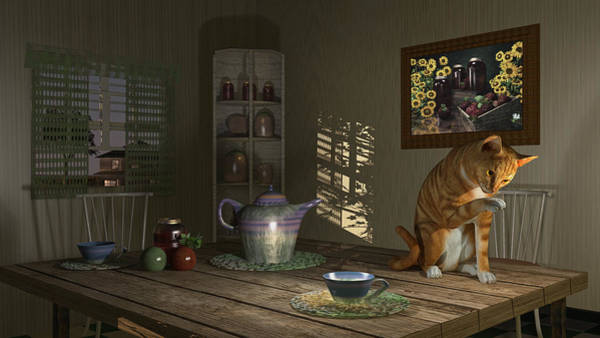 Digital Art - Country Cat by Mary Almond
