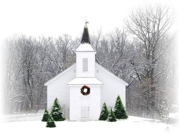Religious Photograph - Country Christmas Church by Carol Sweetwood