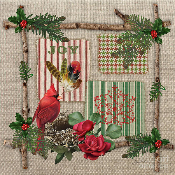 Pine Cones Painting - Country Christmas-jp3172 by Jean Plout