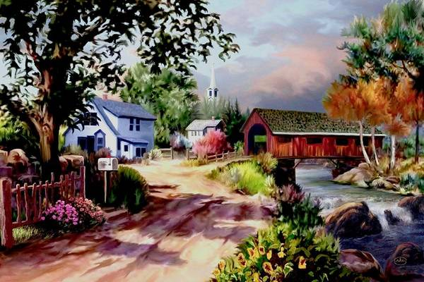 Follow Me Painting - Country Covered Bridge by Ron Chambers