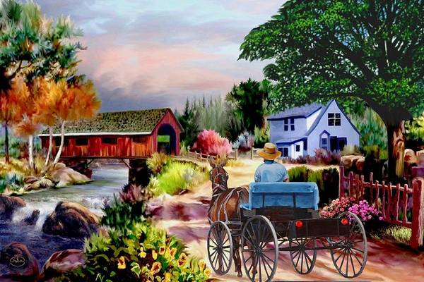 Follow Me Painting - Country Covered Bridge V2 by Ron Chambers