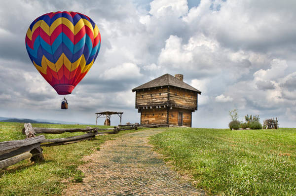 Hot Air Balloon Digital Art - Country Cruising  by Betsy Knapp