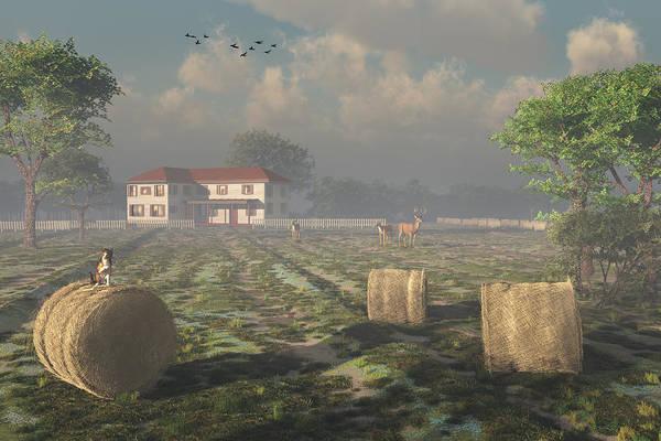 Digital Art - Country Farmhouse by Mary Almond
