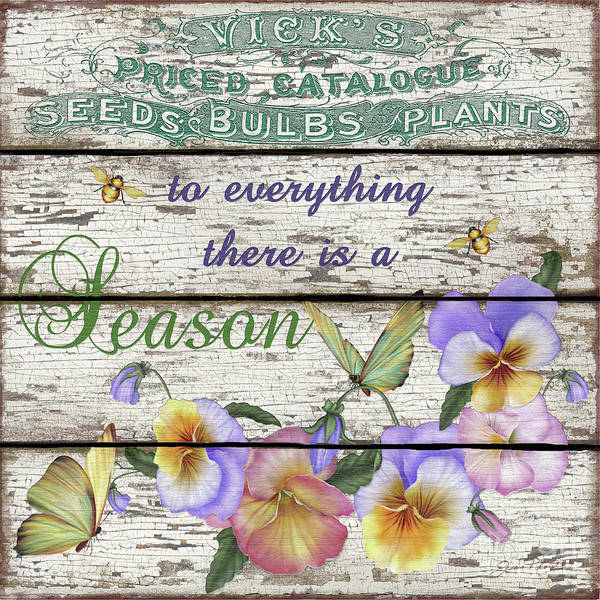 Blue Bug Digital Art - Country Garden Sign-d by Jean Plout