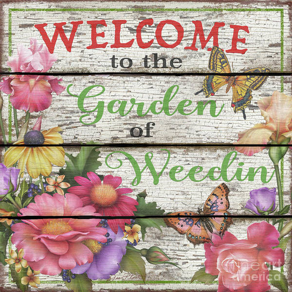 Blue Bug Digital Art - Country Garden Sign-e by Jean Plout