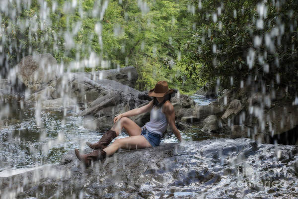 Photograph - Country Girl On Rock At Waterfalls by Dan Friend