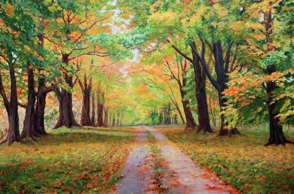 Wall Art - Painting - Country Lane - A Walk In Autumn by Bonnie Mason