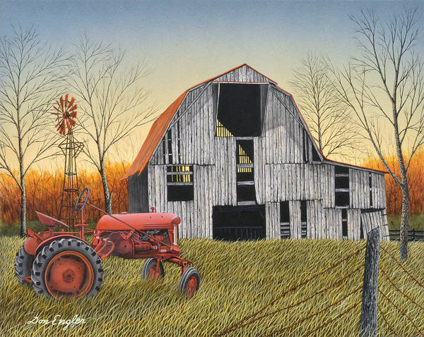 Vintage Tractor Painting - Country Life by Don Engler