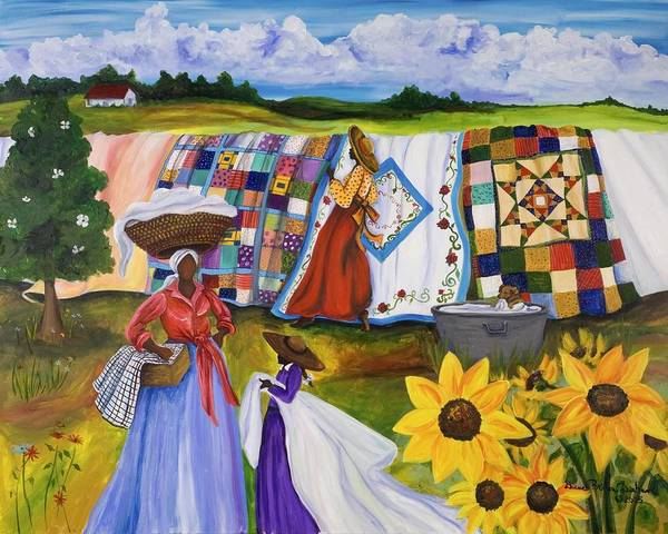 Trains Painting - Country Quilts by Diane Britton Dunham