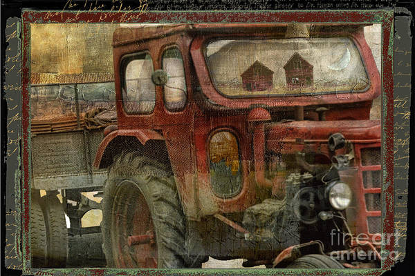 Vintage Tractor Painting - Country Reflections by Mindy Sommers