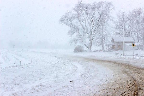 Photograph - Country Road In A Snowstorm by Pete Hendley
