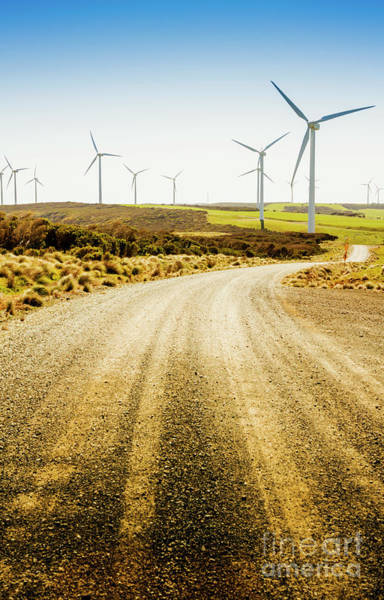 Electricity Photograph - Country Roads And Scenic Windfarms by Jorgo Photography - Wall Art Gallery