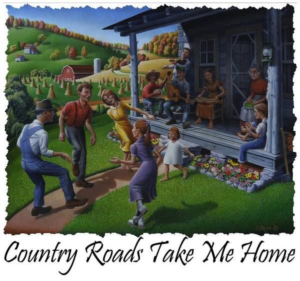 Porch Painting - Country Roads Take Me Home T Shirt - Appalachian Mountain Music by Walt Curlee