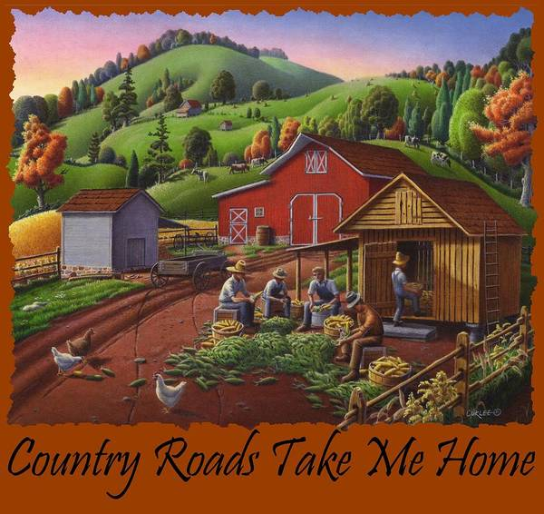 Husk Painting - Country Roads Take Me Home T Shirt - Farmers Shucking Corn - Corn Crib - Farm Landscape by Walt Curlee