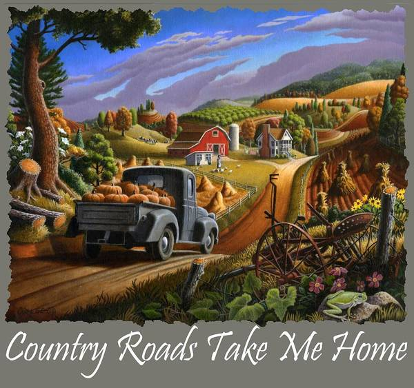 Up North Painting - Country Roads Take Me Home T Shirt - Taking Pumpkins To Market Rural Farm Landscape 2 by Walt Curlee