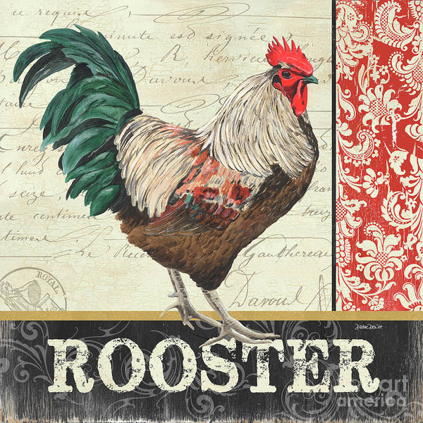 Wall Art - Painting - Country Rooster 1 by Debbie DeWitt