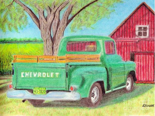 Old Red Truck Drawing - Country Summer by Eric Bjork